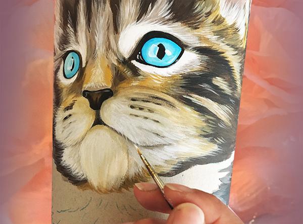 handbemalte Katzen Schultüte